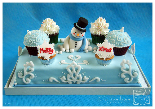 Winter snowman cake