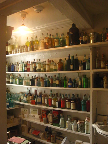 A real potions cabinet, full of Placentula or Cleansing Drink and Oxygas for Udder Ill and other strange wares. I wonder for vets 50 years from now will find our current pharmacies?