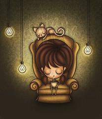 remember (Anita Mejia) Tags: green cup girl cat remember tea memories sofa electricity te taza foco chocolatita anitamejia