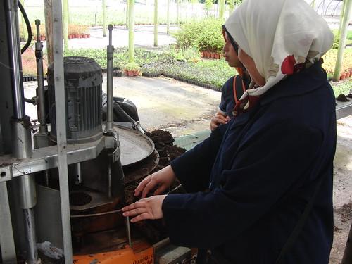 Lady explicando funcionamiento de máquina de macetar