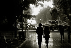A Couple In Hyde Park (Dylan-K) Tags: park street old city shadow people blackandwhite man reflection tree sexy wet public water fountain girl silhouette sepia lady umbrella dark bench walking photography foot high nikon couple legs path candid sydney style australia monotone skirt hyde rainy nsw figure heels cbd through nikkor stroll handsinpockets d90 d80 dylank