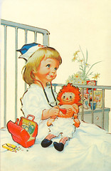 Little Nurse (contrarymary) Tags: girl hospital doll vintagepostcard nurse stethoscope raggedyann northridgeca candypills hawleypratt nursekit northridgehospital nursekittoy candymedicine