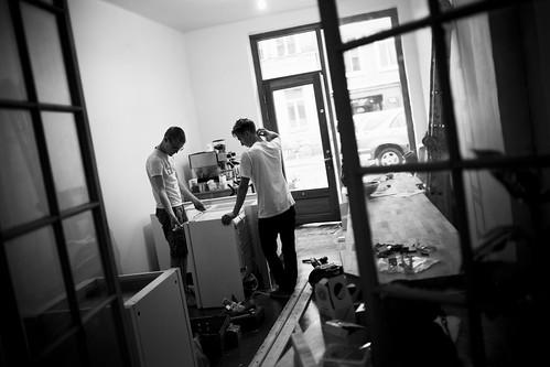 Erik and Oskar building away