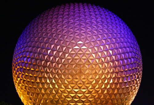Disney World trip - day 8 - Epcot - Spaceship Earth at night