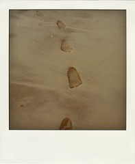 Paved with good intentions (adriellehappyface!) Tags: california beach polaroid sand san waves footprints diego vance adrielle