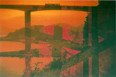 Brigde Tattoo (jasminfish) Tags: bridge brazil cats colors brasil boats island lomo lomography barcos mask ponte es ilha wrecked mscara vilavelha colorido lomografia gambiarra 3ponte experincia morrodomoreno redscale fujisuperiaiso100 praiadoribeiro muitascores holga135bc