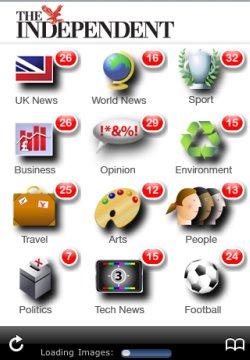 iPhone app homepage