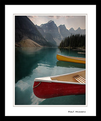 A Red Canoe and Moraine Lake Too (Brent Mooers Photography) Tags: red lake canada canon canoes alberta banff hdr moraine banffnationalpark morainelake redcanoe ultrawideangle 40d canonefs1022mmusm