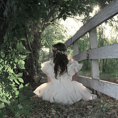 (Anna Hollow) Tags: trees anna me girl fence back dress wreath annahatzakis annahollow