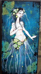 "holly""s jellyfish queen (crazyfish_666) Tags: original painting grey mixed media jellyfish acrylic queen fairy mermaid basic"