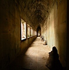 Tunnel of Light (Matteo Allegro) Tags: travel light archaeology monument stone temple ancient asia cambodia shadows perspective tunnel east historical southeast angkor far vanish colorphotoaward bestcapturesaoi elitegalleryaoi lptunnels