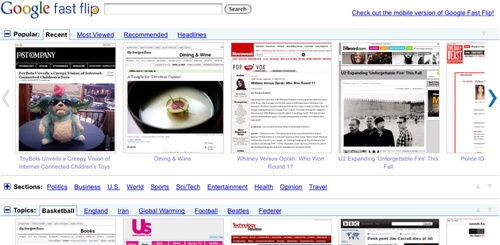 Google Fast Flip Gives a Print Look and Feel to Google News