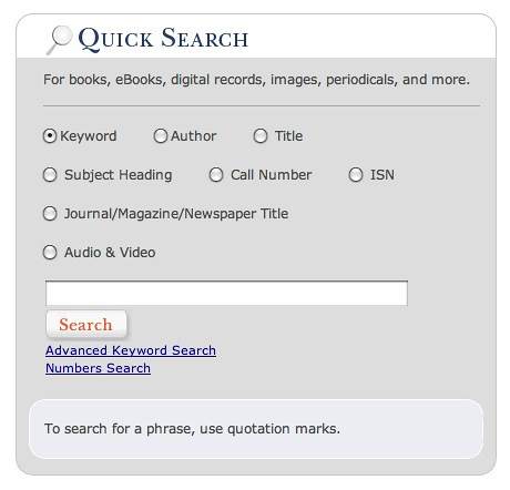 screenshot of the OSU Library catalog search screen, showing access points