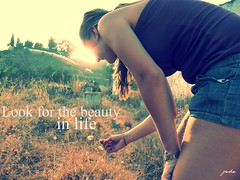 Look for the beauty in life (jadesweetdreams) Tags: life sun flower love girl beauty look grass shopping for colours beth think future present moment everyday past tones carmen picnik supreme