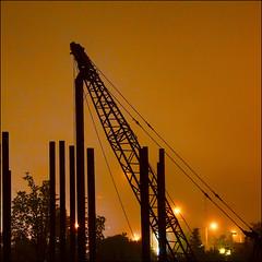 ~ 12 foggy orange seconds  ~ (ViaMoi) Tags: longexposure light weather silhouette fog night canon construction crane tripod mint 40d viamoi 17mm85mm shuttercable