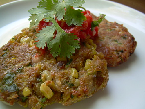 d.i. wine and dine: zucchini corn cakes with fresh salsa