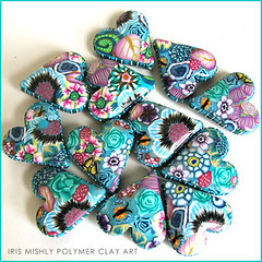 Polymer clay pillow heart beads ~Mermaid Flower~ (Iris Mishly) Tags: ceramica art mobile cane arcoiris pen israel beads keychain hand heart handmade jewelry charm pillow polymerclay fimo mosquito clay canes bead handcrafted pens disc decor magnet charms hanger classes walldecor polymer millefiori hamsa embelishment arcila ceramicaplastica irismishly  polimerica chamsa arcillapolymerica discchic