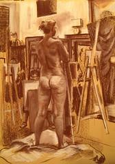 morgan, conte crayon (paul heaston) Tags: life art pose nude sketch artwork model drawing anatomy figuredrawing conte blogger3