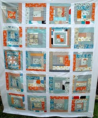 Blue Daze (One Flew Over...) Tags: blue orange white patchwork amybutler aroundtheblock denyseschmidt heatherross printscharming quiltingbee