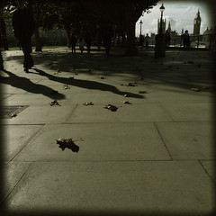 Autumn in London (Che-burashka) Tags: autumn people urban london leaves vintage walking square october streetlamps pavement citylife parliament bigben landmark retro southbank lowangle longshadows octobersun leavesontheground fivestarsgallery artlibre lx3 urbanlyric mondocafeclub
