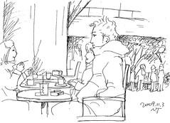 オープンカフェの隣人