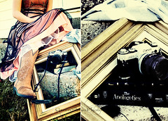 Framing Self-Portrait (Christa {was greenshoesphoto}) Tags: camera portrait selfportrait canon photography gold diptych dress tx details crossprocessing frame copper abilene cowboyboots