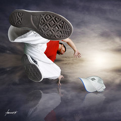 Break-dancing with my Converse (Tomasito.!) Tags: red portrait sky man reflection feet sports shirt clouds self happy person 1 yahoo dance google search cool interesting nikon shoes asia action unique philippines surreal manipulation best nike explore jeans human cap converse taylor chuck selfportait breakdance sole chucks breakdancer 18105 tomasito 500x500 d90 strobist nikod90 obramaestra