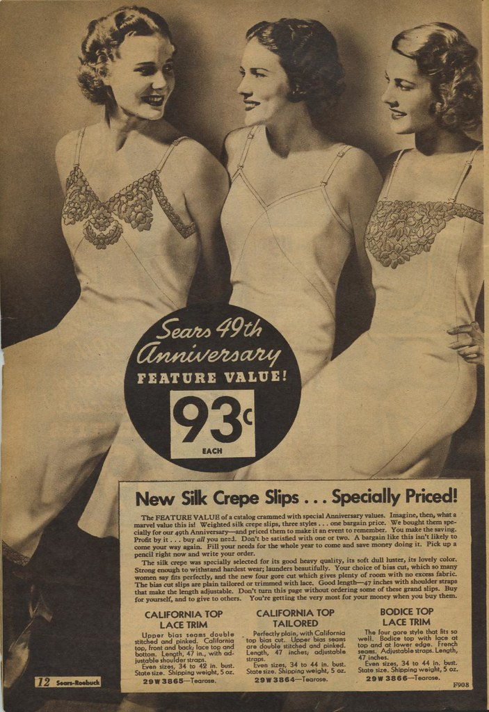 Sears catalogue 1935 - silk crepe slips