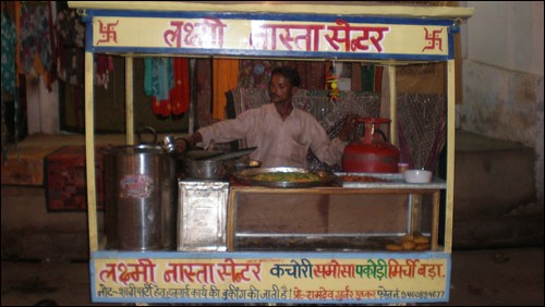Pakora stand in Pushkar (yes, we ate here)