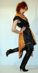 DIY shapeshifting adapta-garment (CalamityJem) Tags: orange black vintage design diy frock 50s satin poncho brocade garment reversible shapeshifting
