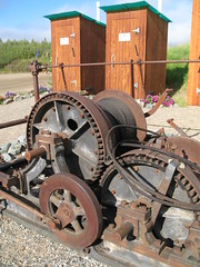 Chicken Alaska: Steam winch and rest rooms, Chicken Gold Camp (chicken gold camp) Tags: park camping chicken alaska gold rv park trip downtown gold world alaska top chicken caf town gold chicken vacation recreational panning alaska campground mining dredge cabins
