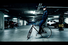 40/365: bikeman (futo) Tags: sanfrancisco california portrait selfportrait bike bicycle night movie lights nikon downtown garage pipe biker fixie fixedgear cinematic trackbike futo trackstand project365 aerospoke nikon1755mmf28 nikond300