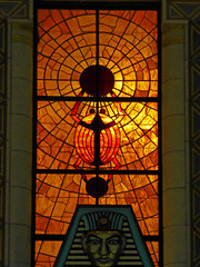 DeKalb, IL Egyptian Theater scarab stained glass window (army.arch) Tags: dekalb illinois il downtown historic historicpreservation nrhp nationalregister nationalregisterofhistoricplaces night city photography bluehour theater movietheater cinema architecture egyptianrevival stainedglass window scarab ra sungod