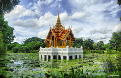 HDR Panorama Chancel In Lotus Pond At Suan Luang Rama IX /  .9 (AmpamukA) Tags: wallpaper sky panorama garden temple pond lotus chancel hdr rama ix luang suan 9    platinumheartaward  ampamuka