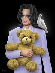 Michael Jackson - The Childhood He Has Never Known (Ben Heine) Tags: music usa celebrity bird childhood fashion illustration youth death sadness glasses hit solitude poem loneliness peace child mort dove rip fame dream jeunesse digitalpainting jacket talent fate madness teddybear singer innocence glove michaeljackson fans airbrushing destin