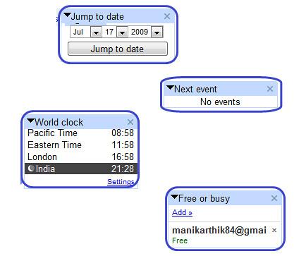 Google Calendar sidebar gadgets
