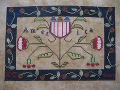america pillow (Deep Fried Cupcake (Andrea)) Tags: blue red white america crossstitch sampler patriotic stitching handworkprimitives