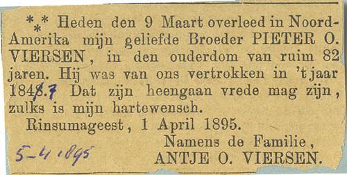 Overlijdensadvertentie Pieter Oebeles Viersen