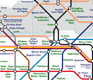 detail of Tube map with 'main points of interest' - click to see full map