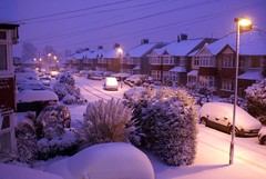 Snow in the suburbs (Jonathan Creaser) Tags: street morning winter snow streetlamps snowfall hounslow whitton suberbs snowcover coveredinsnow carcoveredinsnow streetsnow earlymorningsnow