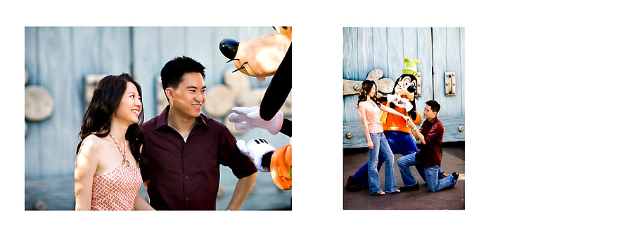 Disney goofy wedding engagement proposal with blue wall pg07