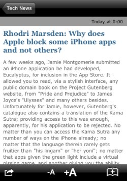 Independent iPhone app article