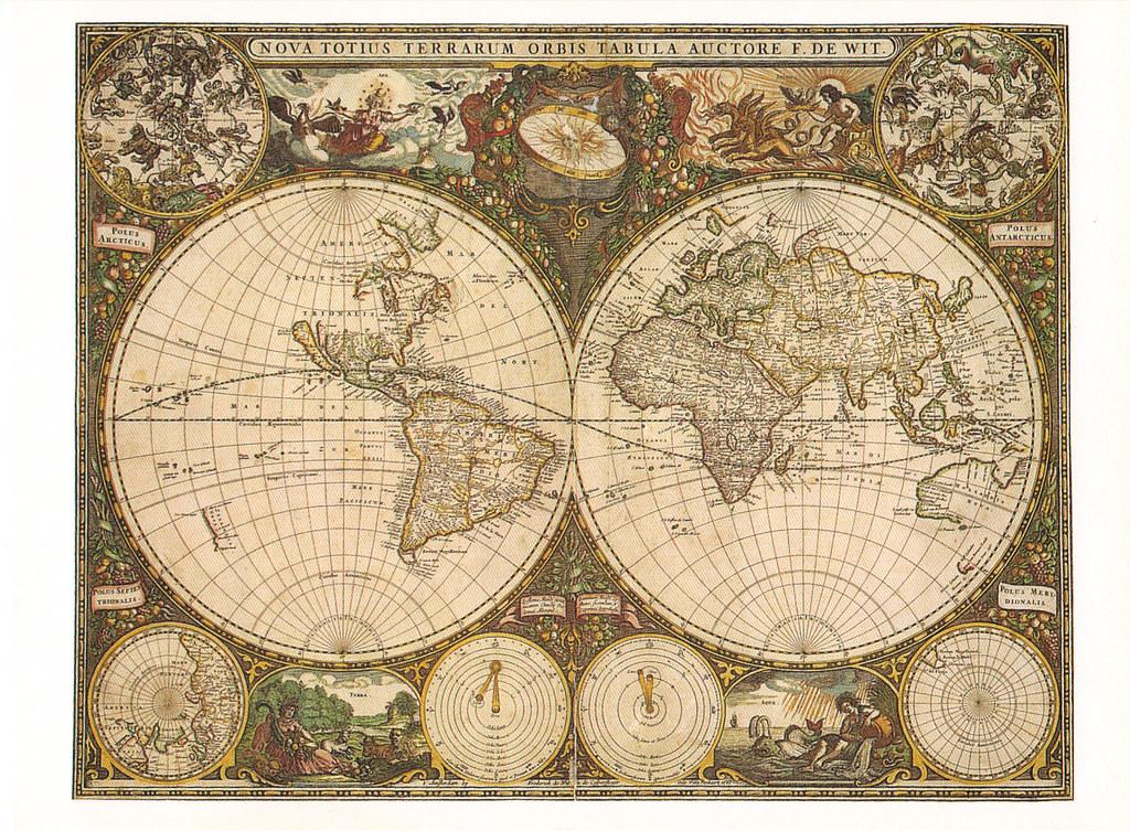World Map Antique Postcard