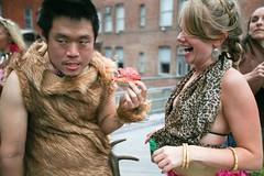 caveman like pizza! (sgoralnick) Tags: costumes party laura costume ps1 phillip warmup caveman neanderthal ps1warmup phillipckim
