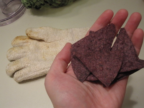 A snack of blue corn chips - from groceries