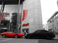Ferrari 308 GTS and CLK DTM AMG (Philipp Lcke) Tags: germany mercedes olympus turbo porsche e3 dsseldorf cabrio spotting astonmartin matte intercontinental sportscar amg sl65 vantage exotics k medienhafen 1260 amv8 knigsalle blackseries 9ff clkdtmamg n400 exoticspotting