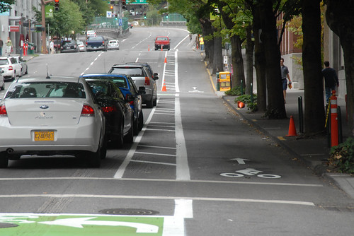 Separated bike lanes in Portland (Image credit: Flickr)