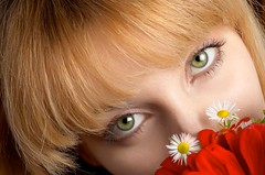 green eyes and flowers (starush) Tags: girls red portrait people woman brown white green love beautiful beauty face smiling horizontal closeup hair studio person one healthy md mode