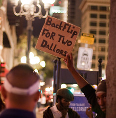 Backflip for two dallors! (San Diego Shooter) Tags: sandiego streetphotography funnysigns downtownsandiego handwrittensigns sandiegopeople sandiegostreetphotography gaslampquartersandiego partyinginthegaslampsandiego