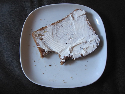 toast with cream cheese and juice